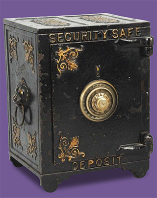 Old office safe suggests security and safety